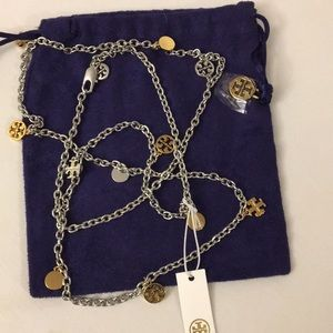 Tory Burch logo charms rosary station necklace.